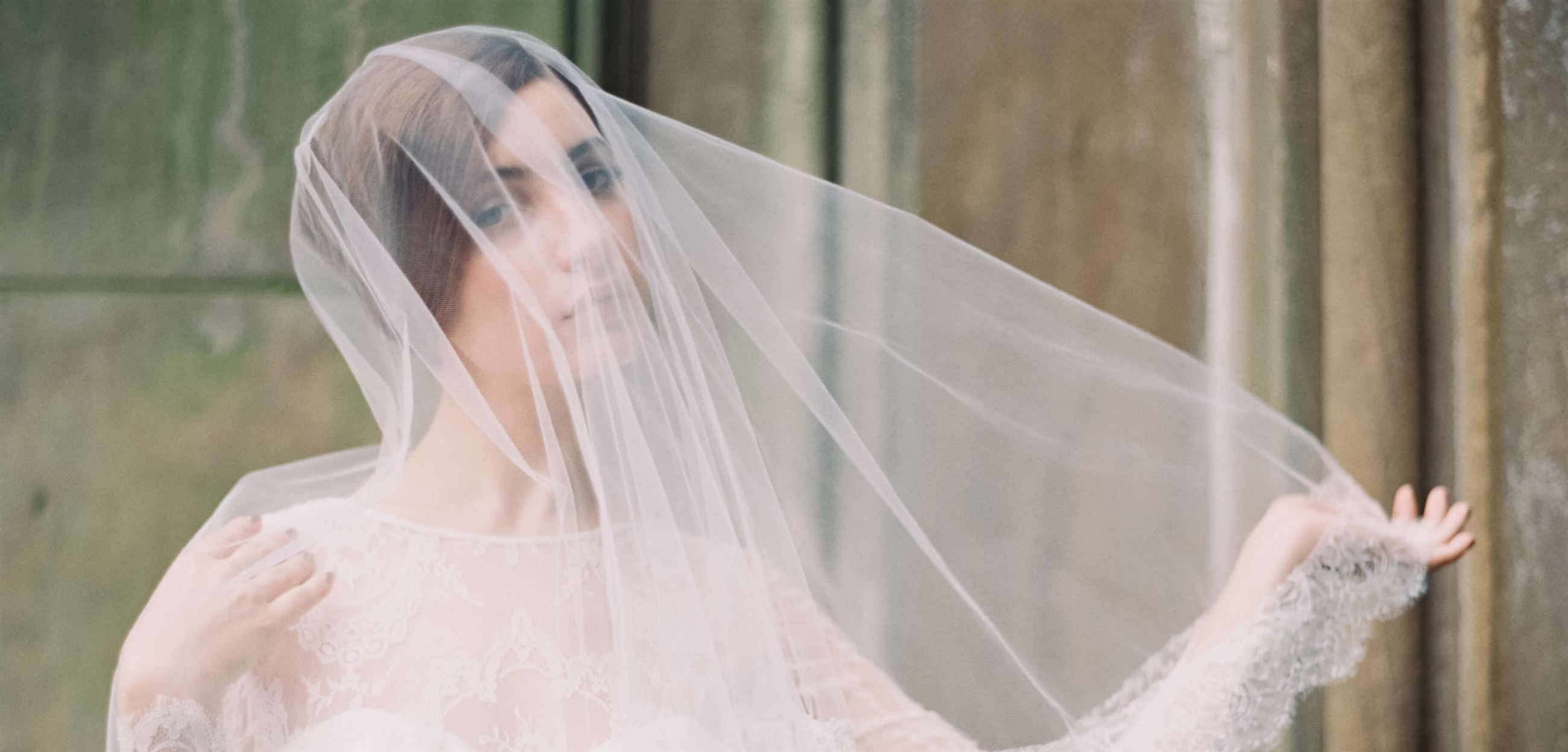 Bride wearing wedding veil. Desktop Image